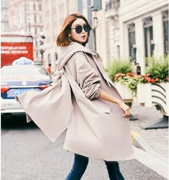 風衣外套 韓版中長版大衣楊幂藝員同款風衣外套 韓版韓版寬鬆中長款大碼連帽N7052232依佳衣