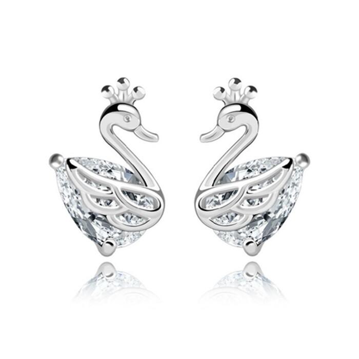 925純銀 白天鵝天鵝湖 天然白水晶 耳環耳針釘-銀 防抗過敏
