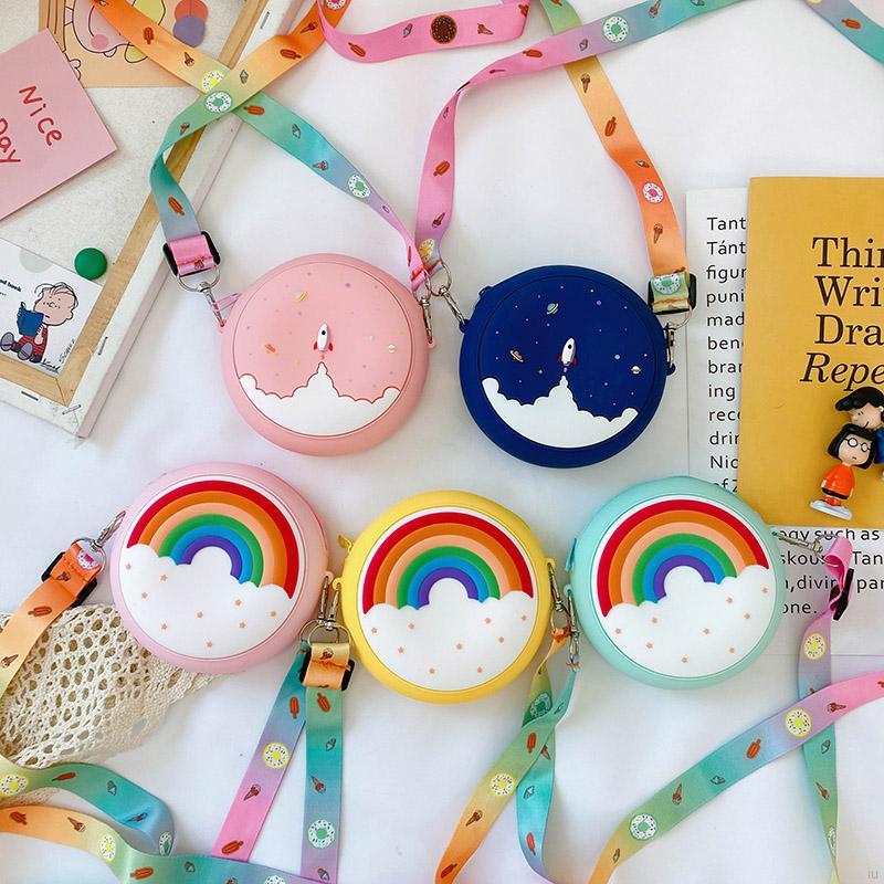 彩虹甜甜圈兒童包包 女童可愛單肩斜背包 小清新零錢包 洋氣網紅 小朋友拉鍊矽膠包【IU貝嬰屋】