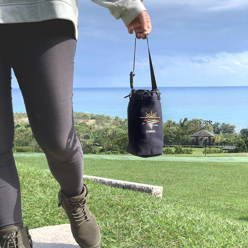 刺繡束口水壺袋 海色的線條 日出