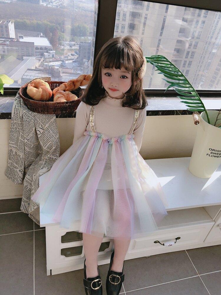 女童春秋季新款 兒童假兩件亮片吊帶中領可愛連衣裙 小仙女裙1入