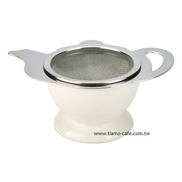 金時代書香咖啡 CafeDe Tiamo 茶壺造型不鏽鋼杓形濾網組 (附陶瓷底座) HG2818W