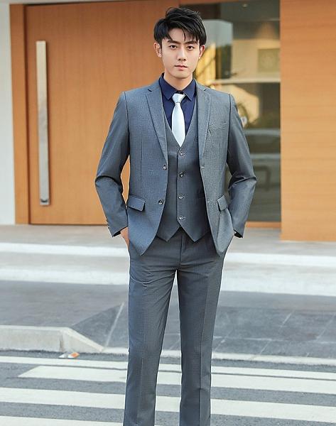 【988】修身版淺灰色男西裝(男西裝/背心/西褲)/六色可選 男女款/公司團體制服主管業務結婚