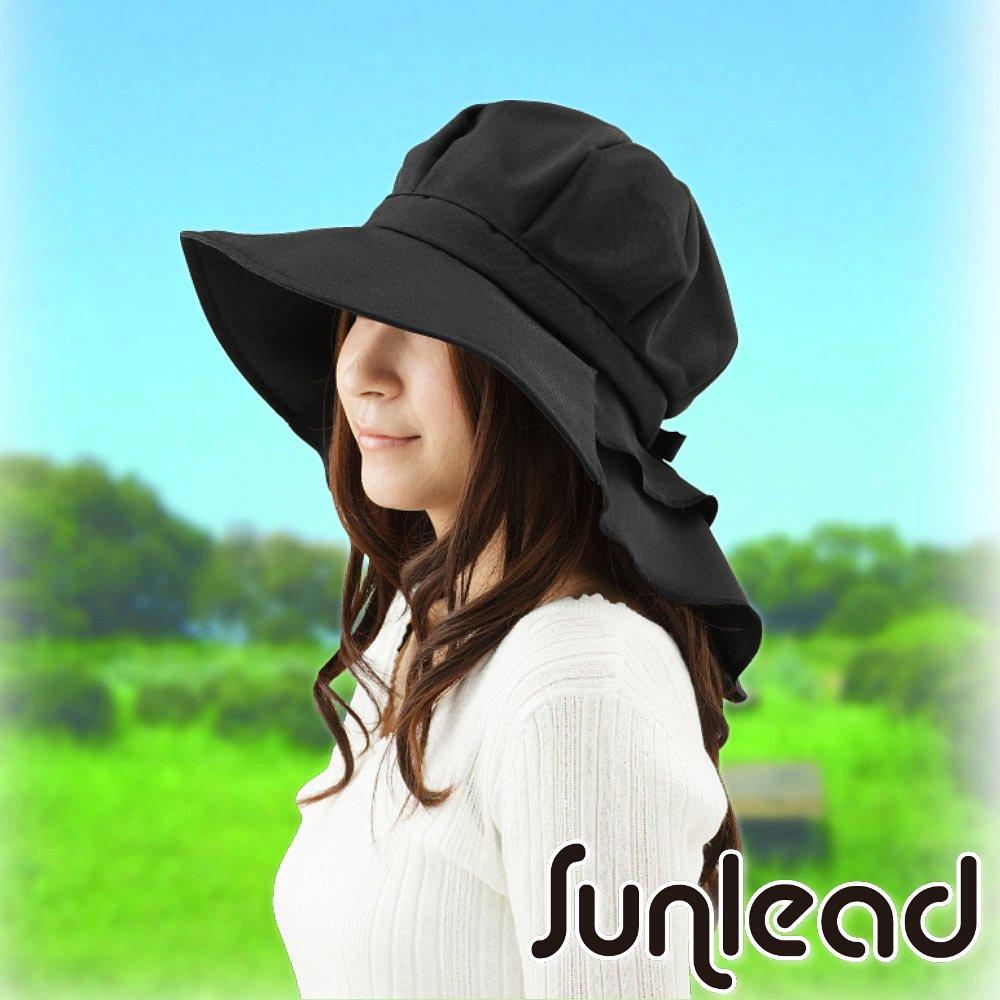 Sunlead 日系馬尾寬緣護頸透氣抗UV防曬圓頂遮陽軟帽 (黑色)