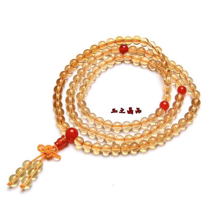天然黃水晶紅瑪瑙隔珠108顆佛珠手鏈1入