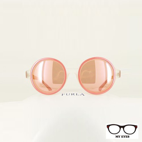 義大利女性品牌Furla 復古圓框太陽眼鏡 蛇皮紋飾 時尚俐落 蜜糖甜心造型 (SU4882)