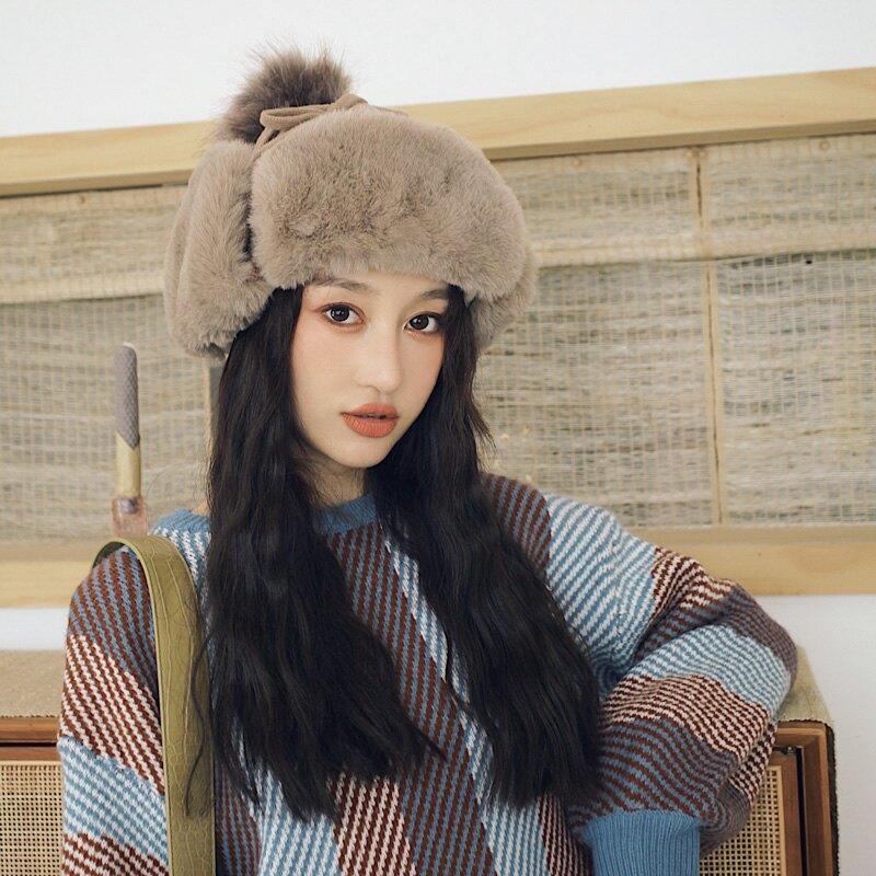 冬天帽子加絨加厚保暖雷鋒帽女護耳帽秋冬韓版毛線帽飛機雪地風雪1入