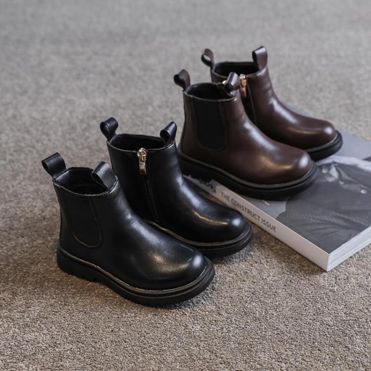 兒童靴子 女童鞋馬丁靴軟皮冬季新款加絨靴子兒童英倫風皮靴短靴