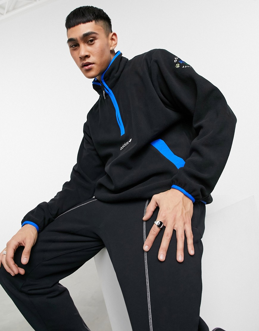 adidas Originals adventure half zip fleece in black