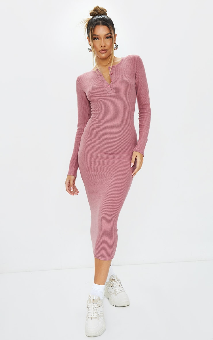 Mauve Brushed Rib Button Front Midaxi Dress