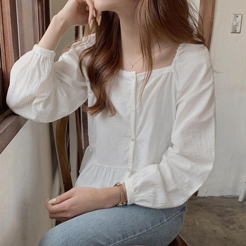 韓系方領長袖襯衫女氣質款素面設計感小眾chic風簡約百搭韓妞必備ins潮套頭打底衫襯衣上衣