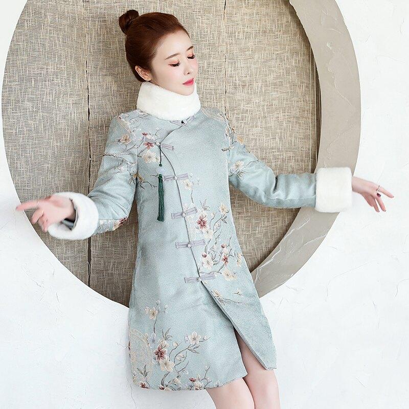 秋冬過年宮廷風加厚毛領中長改良旗袍棉衣中國風提花棉襖外套1入