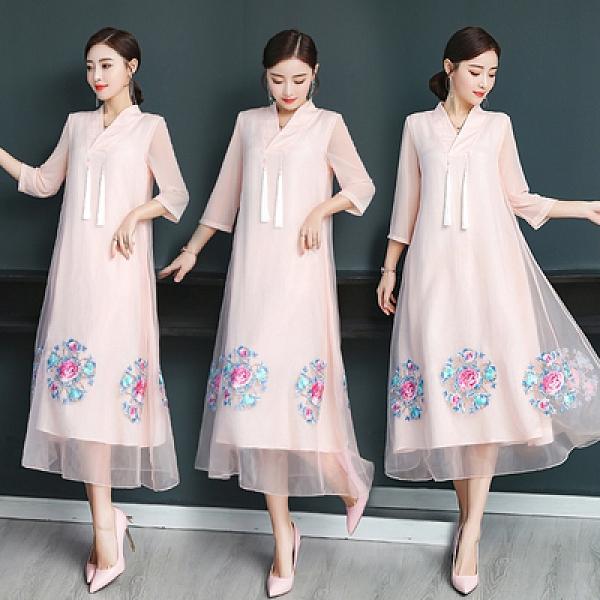 洋裝 夏季款 女士短袖連身裙2021春夏季 V 領繡花吊須須流蘇寬松A字顯瘦大碼連身裙NE53A快時尚