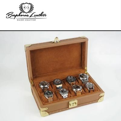 【伯倫】Saffiano-X8 焦糖棕 收藏型金釦八腕錶盒