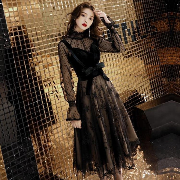 晚禮服裙女新款黑色派對洋裝小禮服晚宴會聚會 【母親節特惠】