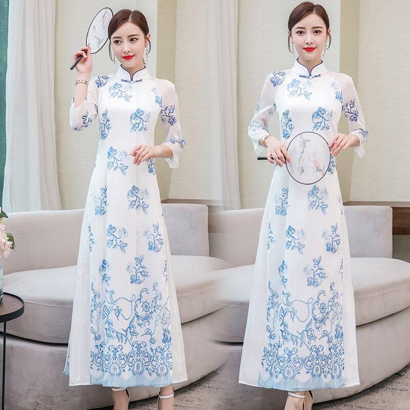 民族風連衣裙夏季中國風改良中式旗袍雪紡復古修身奧黛長裙子1入