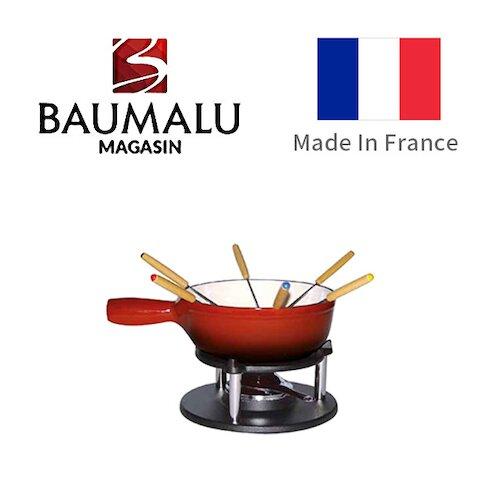 【法國Baumalu 寶馬璐】 薩瓦德鑄鐵紅色火鍋套組 24cm 6人