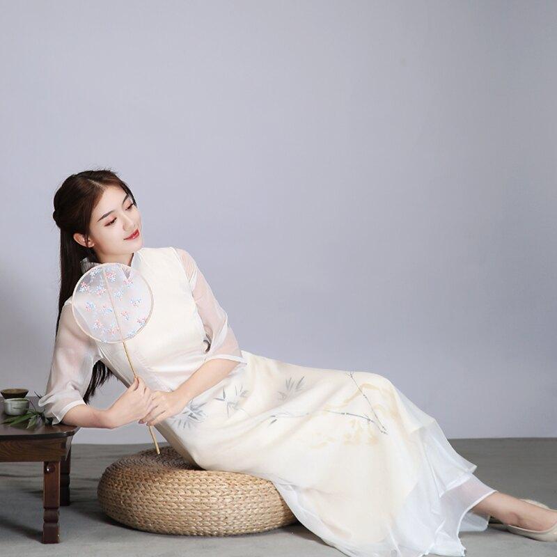 春夏季新款中國風改良旗袍茶服禪服女中式復古文藝印花連衣裙1入