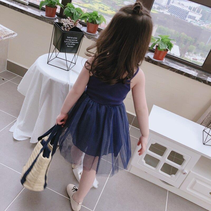 中小童2019新款春裝 兒童網紗公主裙女童寶寶女孩打底吊帶裙潮1入