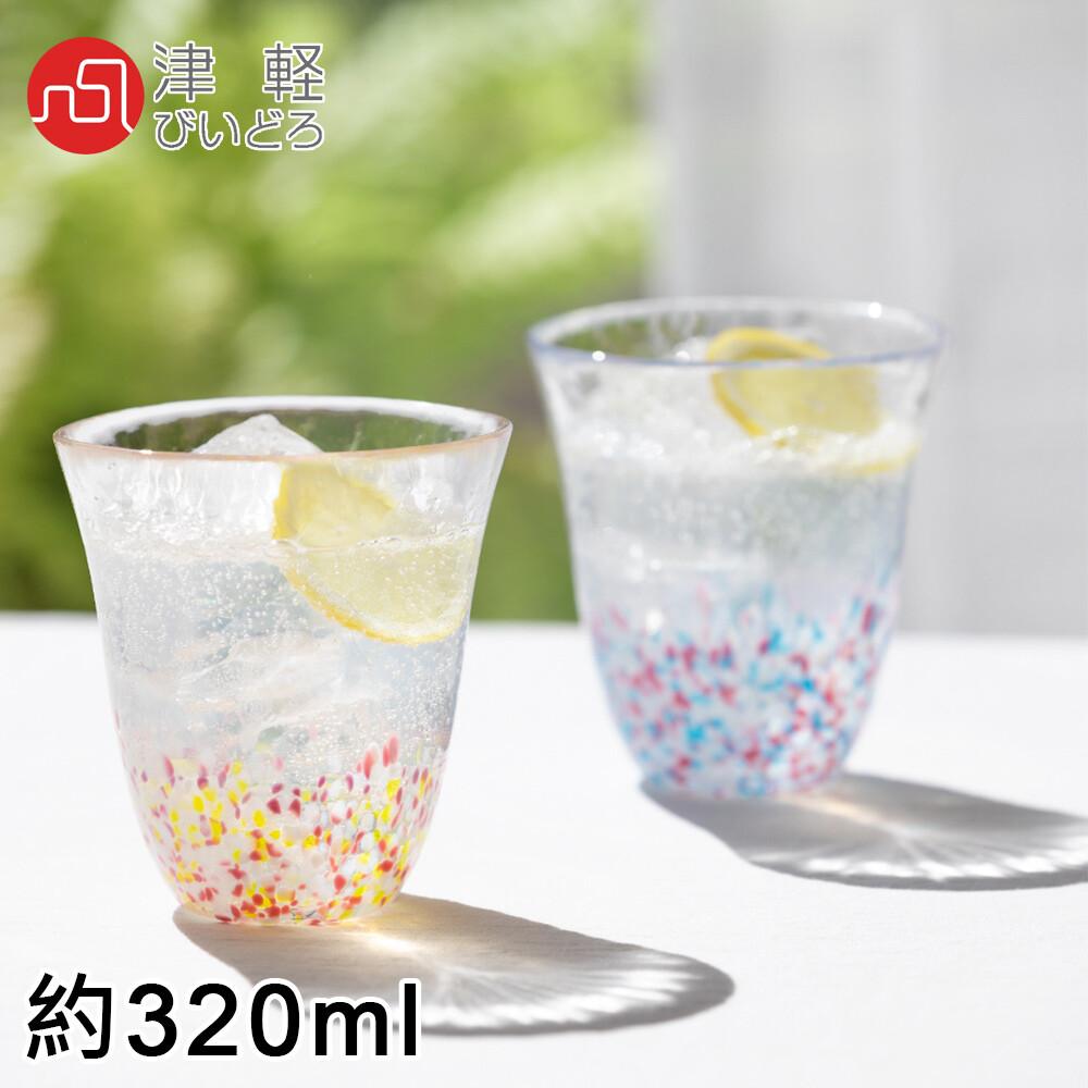 aderia日本進口津輕系列手作櫻花雙色玻璃對杯禮盒組320ml