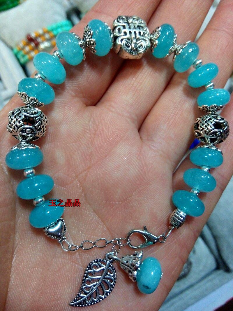 天然水晶海藍石愛情之石藏銀手鏈1入