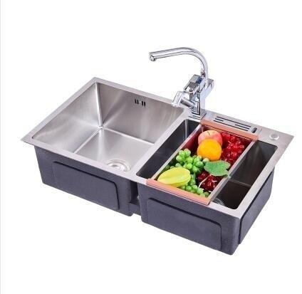 水槽 洗菜盆雙槽家用廚房洗碗池台上台下盆水池套餐手工304不銹鋼水槽 萬聖節狂歡 DF