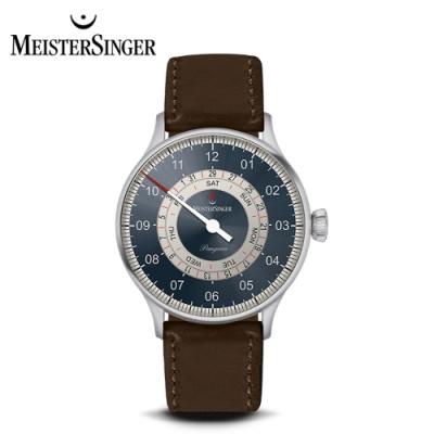 MeisterSinger 明斯特單指針 PDD9Z17S 三節針鋼藍沙灰 月週日期環 40mm