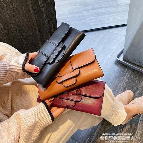長夾 2021新款錢包女長款日韓大容量多功能三折女式錢夾皮夾子母手拿包 萊俐亞