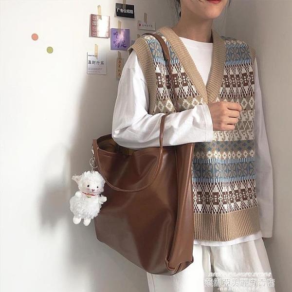 子母包 大容量包包女手提包2021新款簡約百搭側背子母包軟皮小眾托特包 萊俐亞