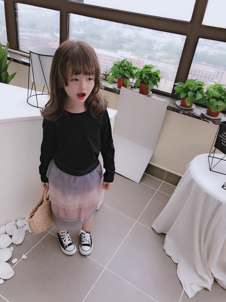 2019女童夏季新款氣質套裝 兒童長袖圓領T恤+洋氣漸變色半身裙潮1入