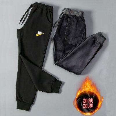 Nike 耐吉 印花LOGO冬季適穿 純棉加厚 內刷毛 寬鬆運動褲子 休閑褲 縮口 束口跑步褲