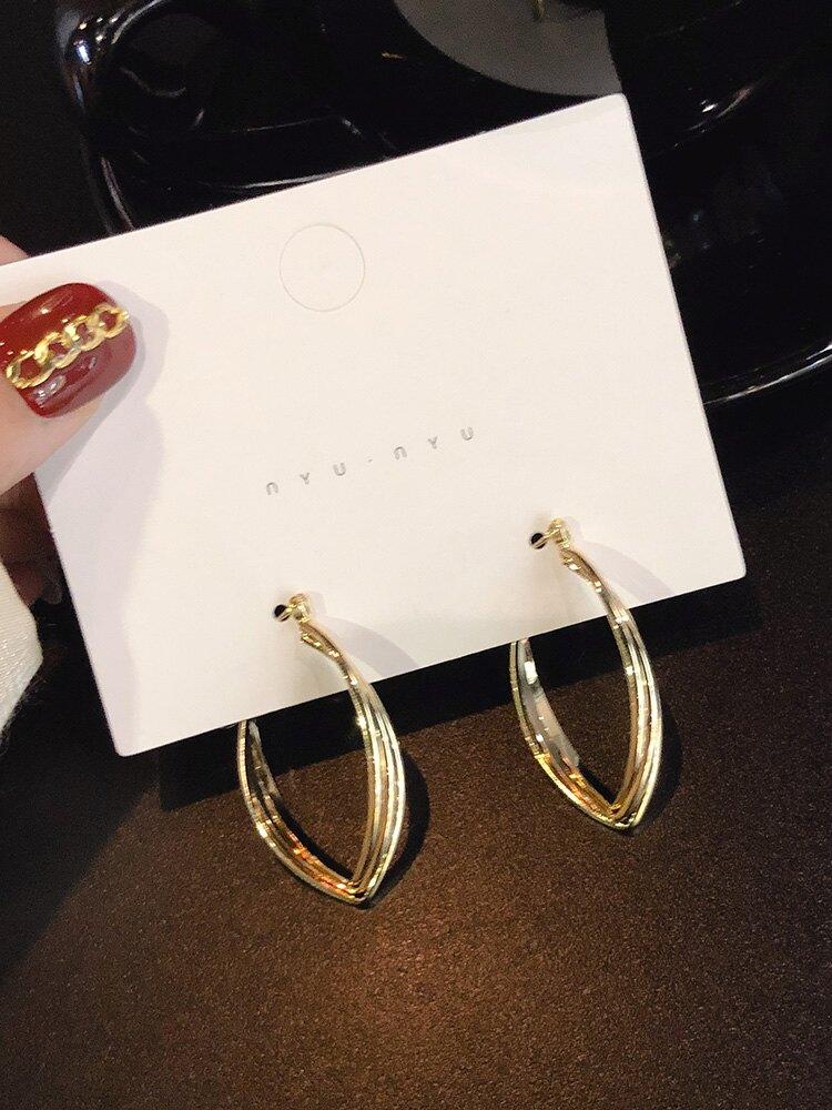 耳環韓國時尚氣質東大門個性2019新款百搭金屬吊墜小眾設計感耳釘1入