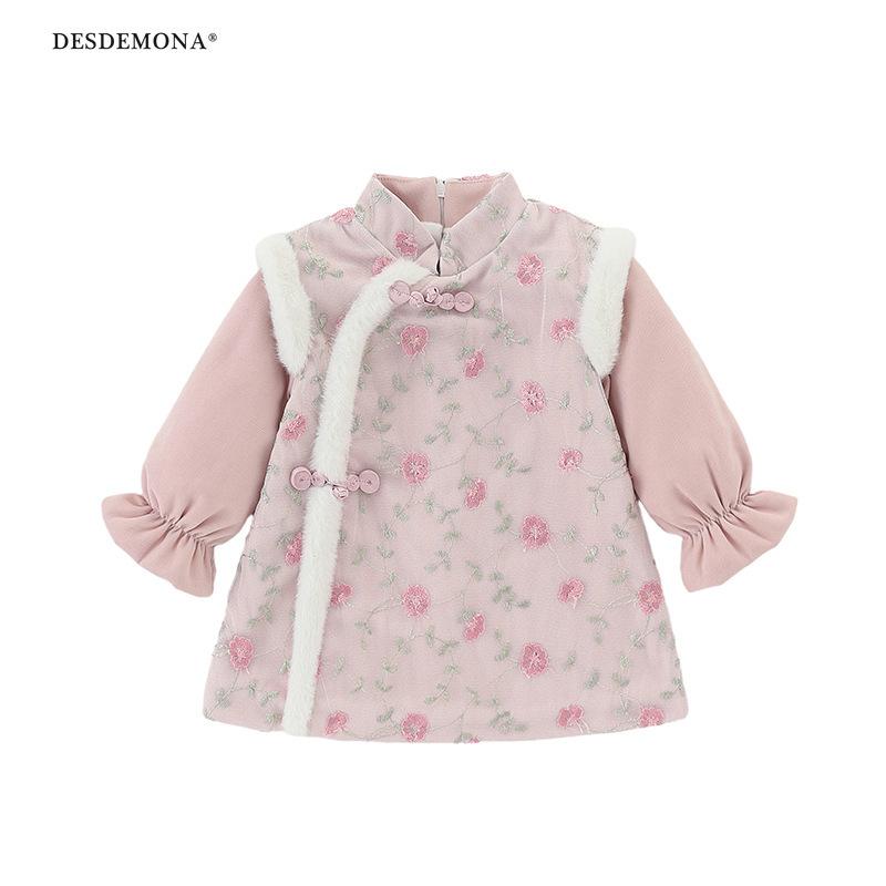 現貨出售童裙女童粉色公主裙冬季綉花民族新年加絨盤扣唐裙拜年服