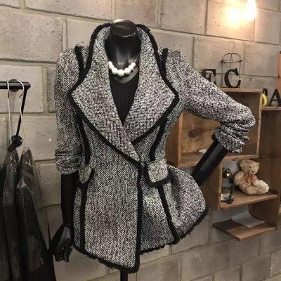自留款 氣質灰色春秋新款女裝chic西裝外套修身顯瘦腰身羊毛呢子西裝外套 S~XL碼