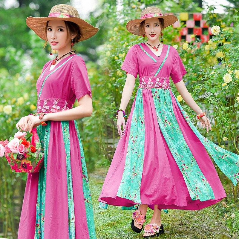 民族風連衣裙短袖夏天新款中式復古刺繡印花玫紅大擺裙長裙子1入