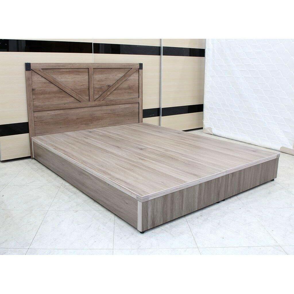 【歐風別館】英倫五尺灰橡色床頭片+六分木心板床底【基隆至台中免運費】