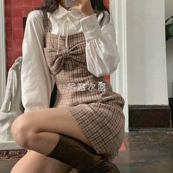 甜美法式少女蝴蝶結復古格紋毛呢背帶洋裝女A字裙2020秋冬新款 新年禮物