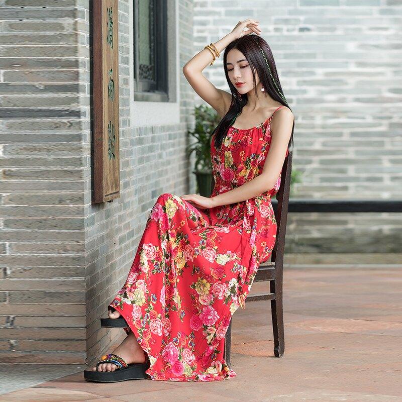 夏季棉麻女裝民族風連衣裙復古吊帶裙a字大擺裙棉綢超長裙子1入