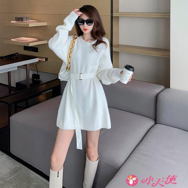 泡泡袖洋裝 白色裙子秋冬2021年新款女收腰顯瘦氣質泡泡袖圓領針織毛衣連身裙 小天使