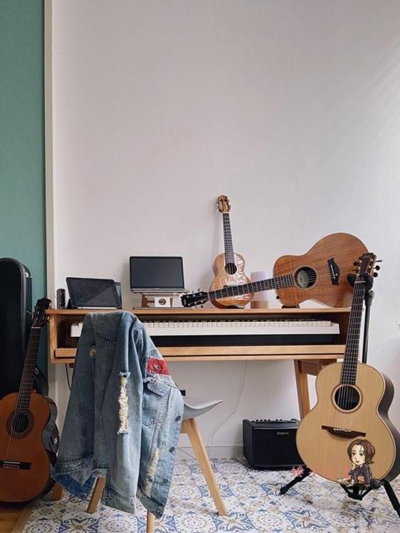 超低價!!音樂工作台 編曲工作台家用實木MIDI鍵盤桌電子鋼琴桌音樂製作調音錄音棚琴桌T