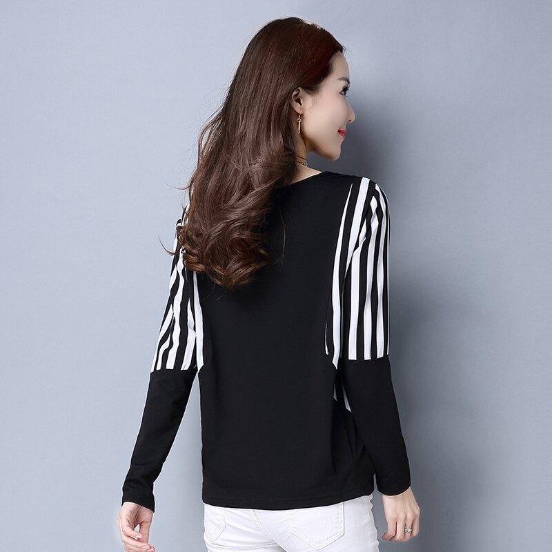 大碼女裝T恤2019年秋裝新款韓版寬松百搭黑白條紋打底衫長袖上衣1入