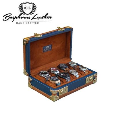 【伯倫】 Scripto-X8 海軍藍裷邊焦糖棕 收藏型金釦八腕錶盒