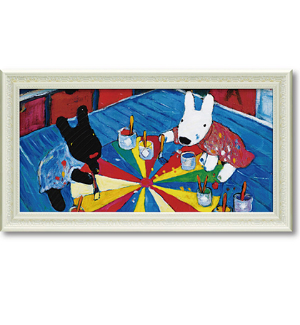 《麗莎和卡斯柏》大型橫型含框複製畫-一起畫畫