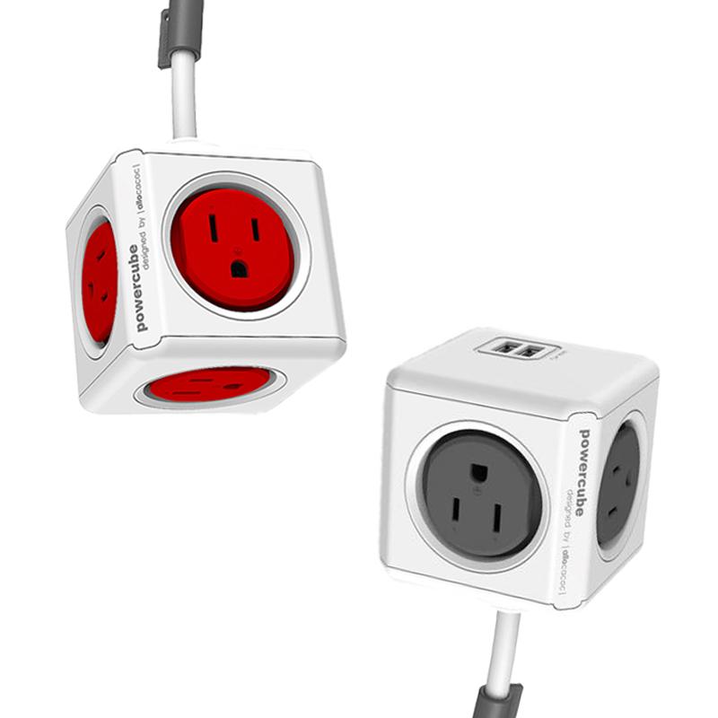 【荷蘭POWERCUBE魔術方塊(灰)1.5米雙USB延長線】延長線 USB插座 萬用插頭 轉接頭 快充插座 電源插座 充電器 充電線【AB339】