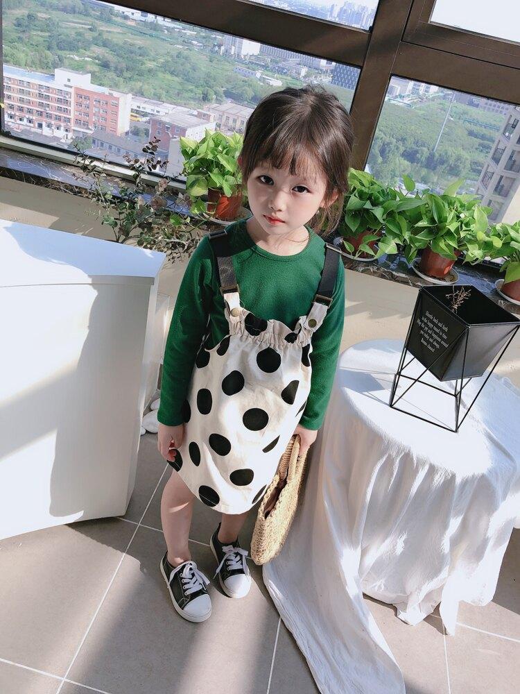2019春秋季新款 女童甜美裙套裝兒童舒適寬松圓領上衣+肩帶背帶裙1入