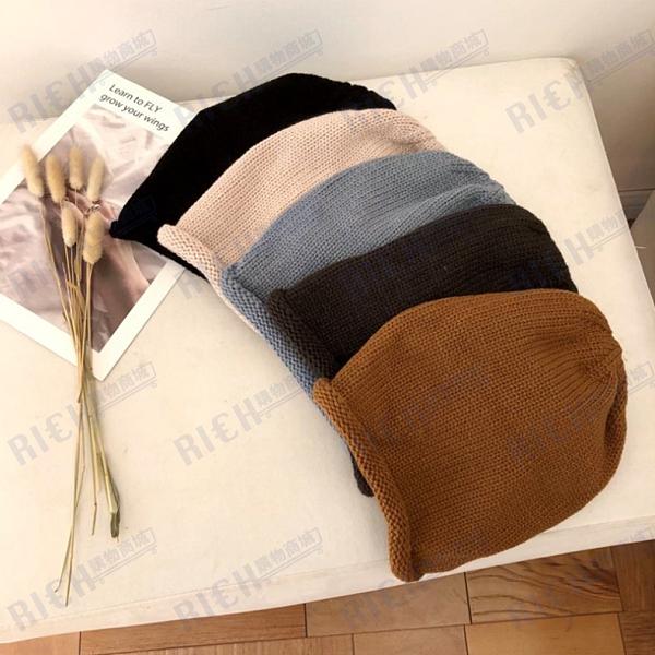 日系秋冬純色保暖卷邊毛線帽男女百搭針織帽子時尚街頭抽繩堆堆帽
