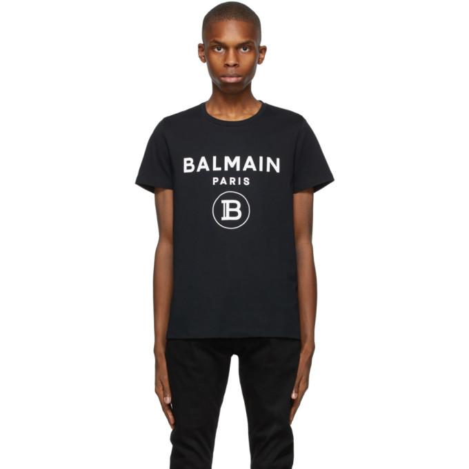 Balmain 黑色徽标印花 T 恤