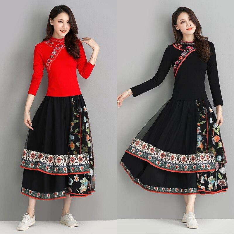 春季新款民族風女裝復古繡花立領T恤長袖修身女士上衣顯瘦1入