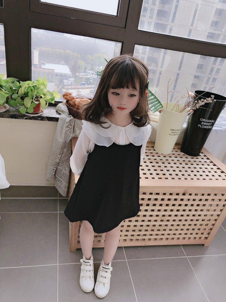 童裝春秋季新款 中小童寬松長袖翻領上衣+女童純色寶寶背帶裙1入