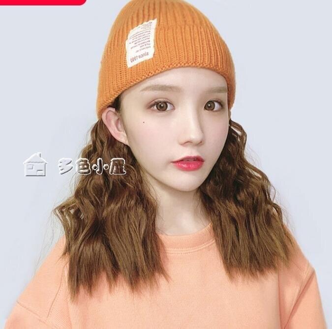 假髮帽假髮帽子帶頭髮針織毛線帽子女秋冬韓版潮時尚百搭一體帽子髮